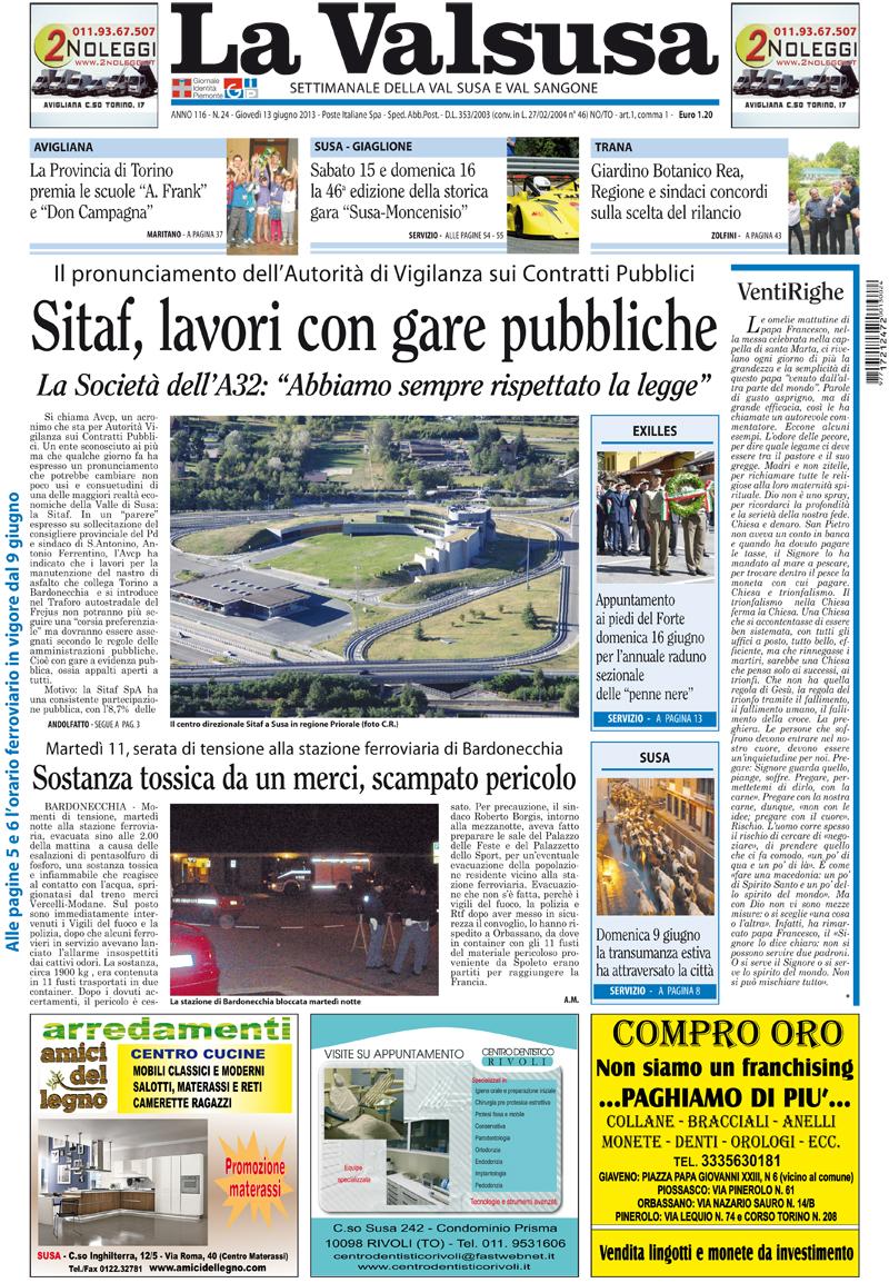 Prima pagina del 13 maggio 2013
