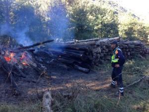 La catasta di legna in fiamme