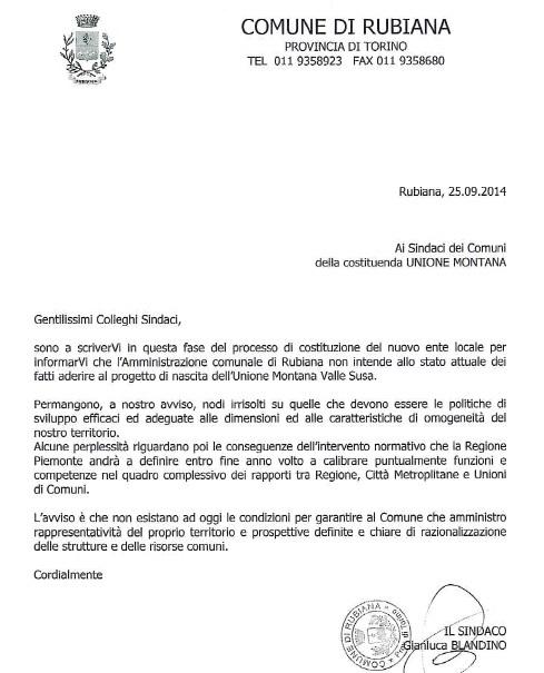 """La lettera del sindaco Blandino ai colleghi valsusini: """"Rubiana in Val di Viù? Forse. Di certo non in Bassa Val di Susa"""""""