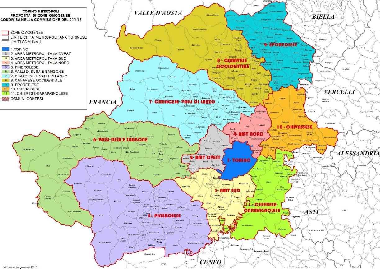 Saranno 11 le zone omogenee della Città Metropolitana di Torino