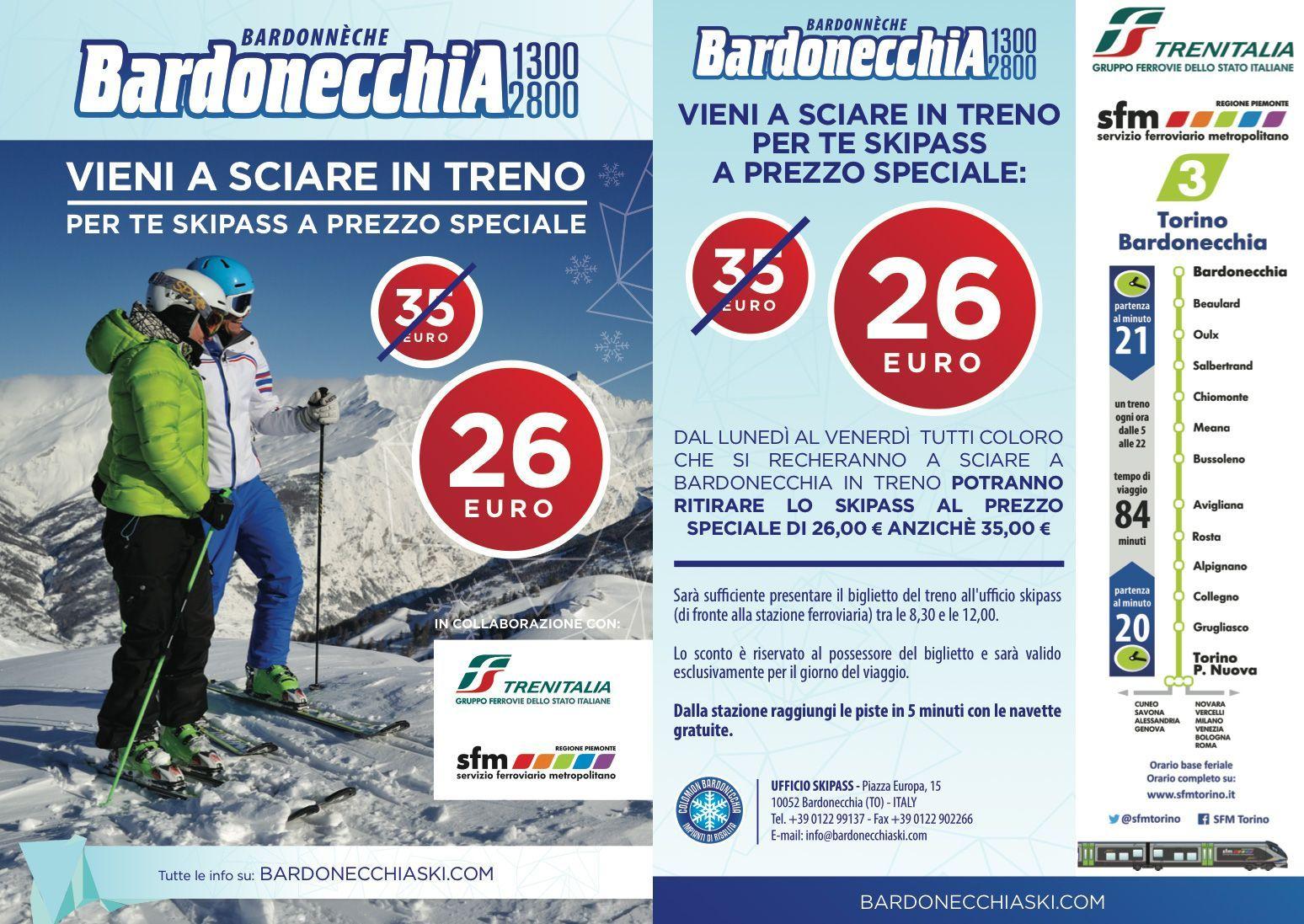 Se usi il treno sciare a Bardonecchia costa meno