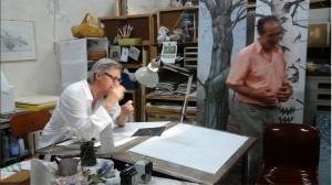 Vittorio Sgarbi, lunedì notte, nello studio del pittore Vinicio Perugia