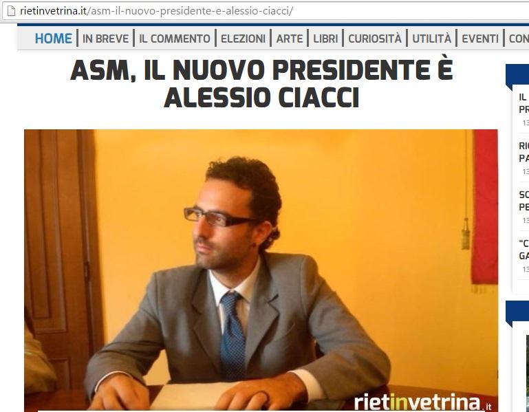 Ciacci (candidato per la presidenza Acsel) ai vertici dell'Asm (raccolta rifiuti) di Rieti. E adesso?