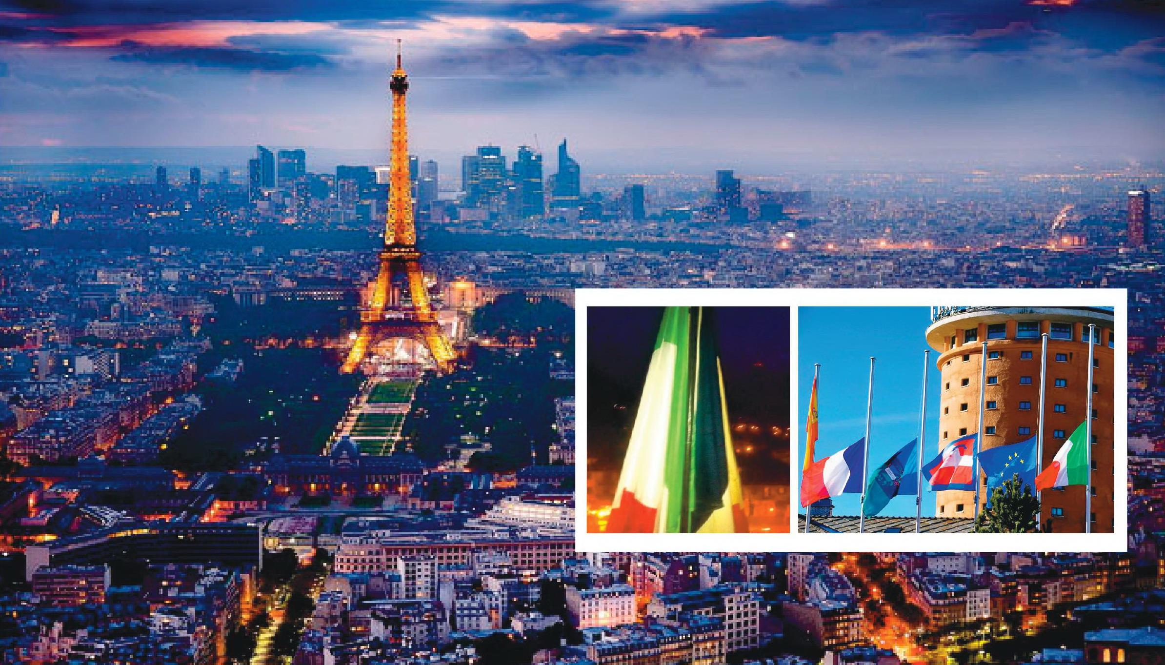 Condove espone la bandiera francese. Vessilli a mezz'asta a Sestriere