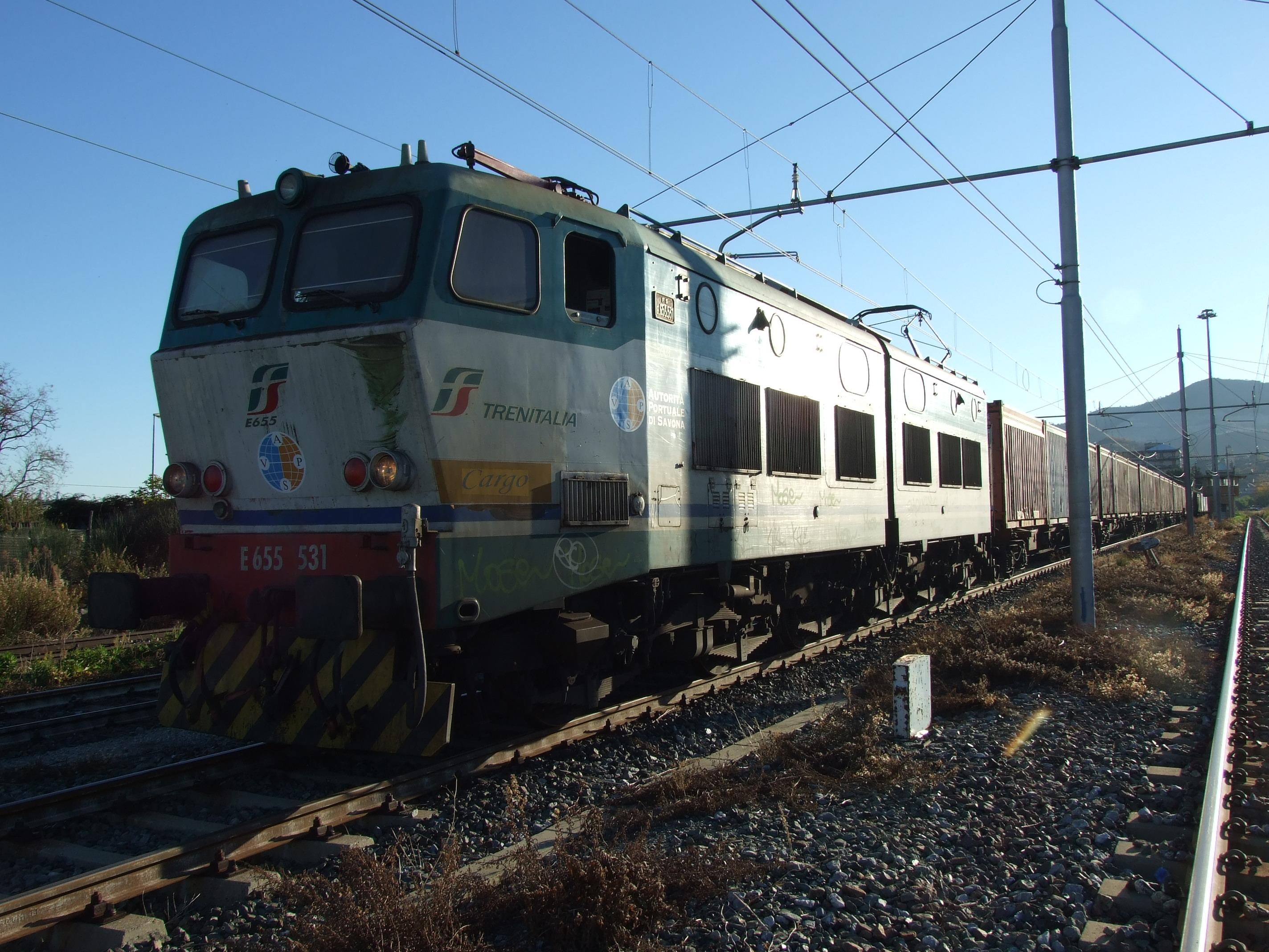 """Il """"treno di Natale"""" da Savona a Orbassano anticipa la Torino-Lione. Sedici carri con 24 contenitori, tra cui 7 container per il trasporto di frutta, viaggiano sul ferro e non più su gomma"""