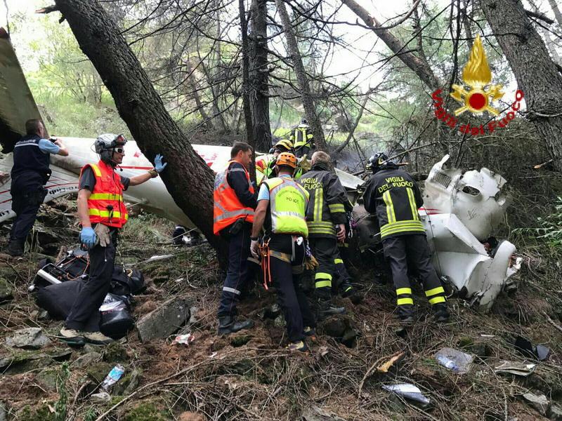 L'aereo precipitato al Moncenisio era diretto a Lione. Due feriti in codice rosso, uno dei due gravemente ustionato