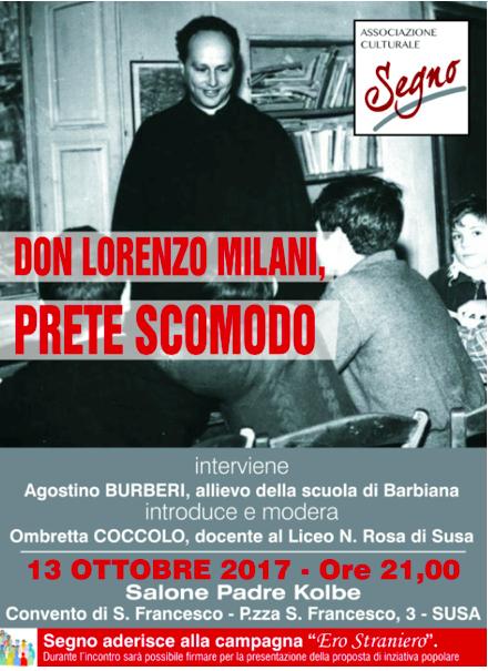 """Susa, l'associazione """"Segno"""" propone un incontro su don Milani"""