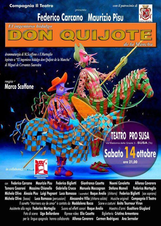 """Susa, teatro: sabato 14 arriva il """"Don Quijote"""" di Marco Scoffone"""