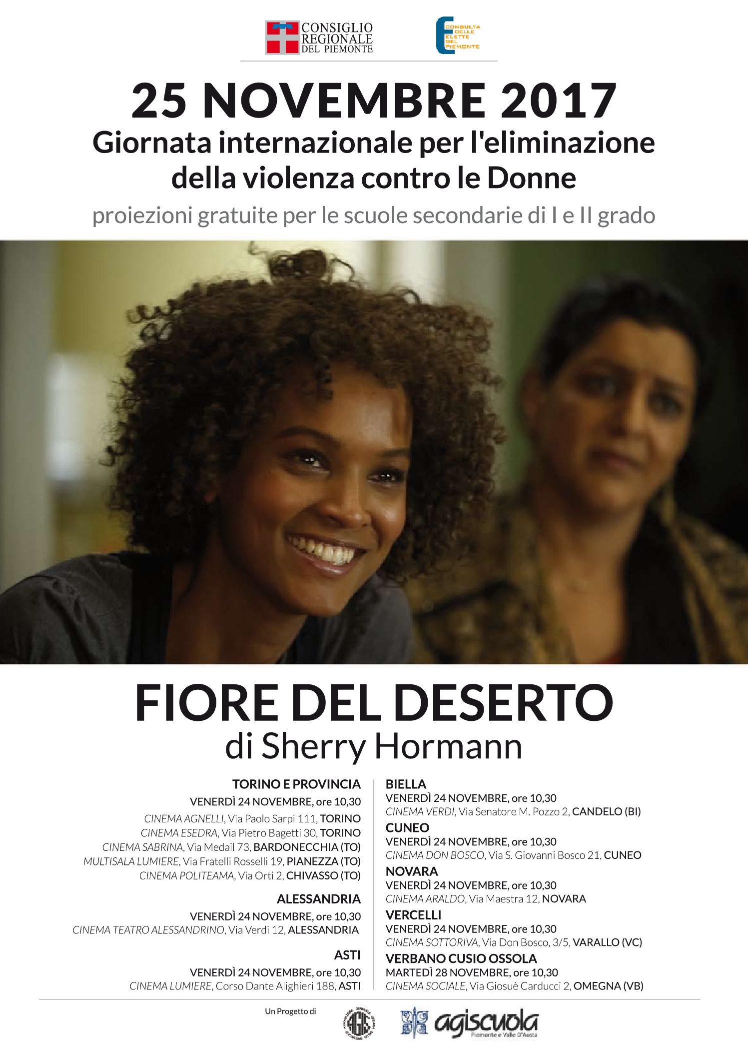 """Bardonecchia, contro la violenza sulle donne. Oggi 24 novembre, il film """"Fiore del deserto"""""""