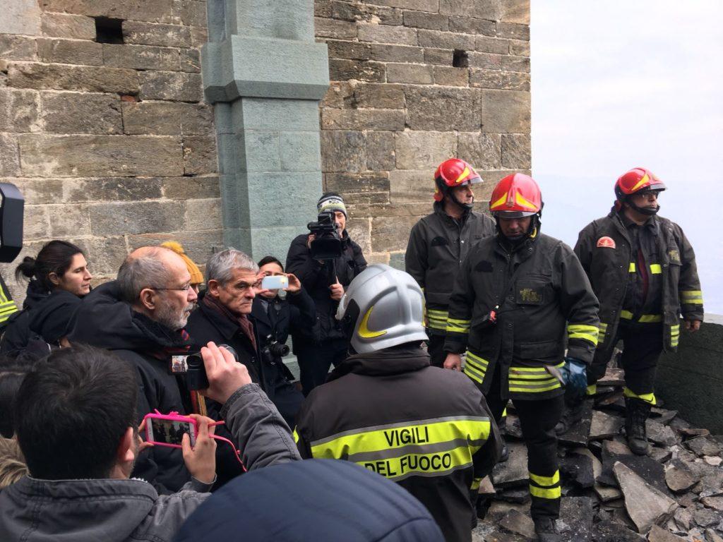 """Chiamparino alla Sacra: """"I danni sono contenuti. Con i fondi europei abbiamo risorse sufficienti per ripararli"""""""