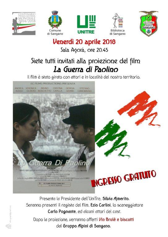 """La guerra di Paolino"", venerdì 20 aprile, a Sangano"