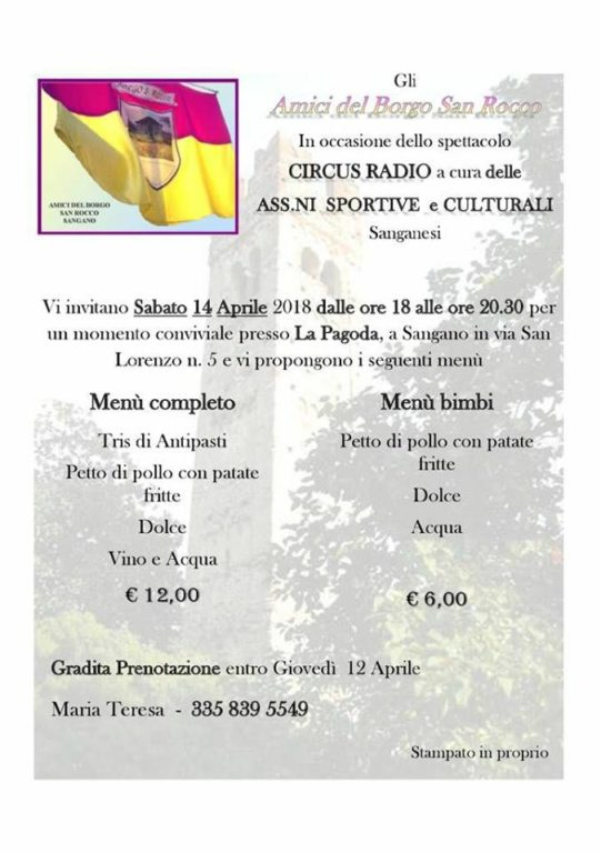 "Sangano, sabato 14 aprile, in Pagoda, c'è ""Circus Radio"""