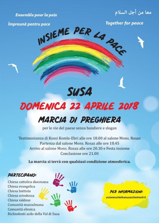 Susa, domenica 22 aprile c'è la Marcia per la Pace