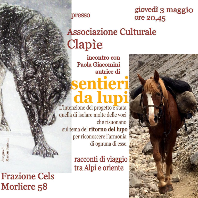 "Valsusa, Paola Giacomini presenta ""Sentieri da lupi"" a Exilles giovedì 3 maggio"