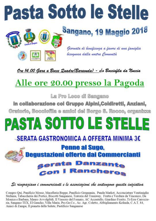 """Sabato 19 maggio, a Sangano, c'è """"Pasta sotto le stelle"""""""