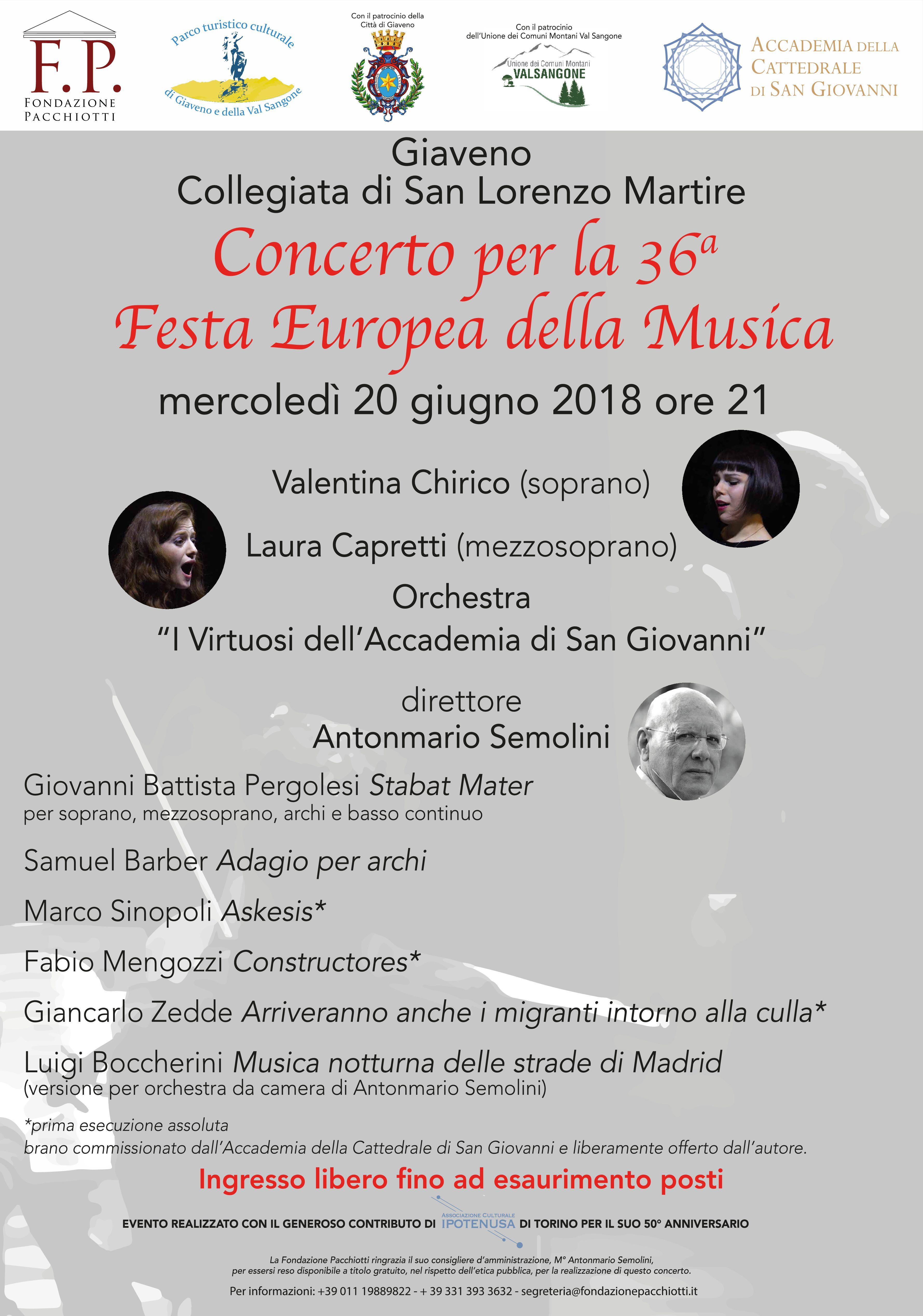 Due grandi concerti a Giaveno e a Torino