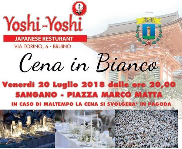 """Venerdì 20 luglio si terrà la prima """"Cena in Bianco"""" a Sangano"""