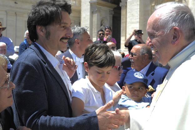 L'attore valsusino Renato Porfido ha incontrato Papa Francesco