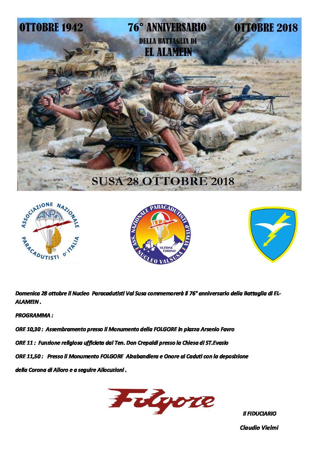 I Parà della Valsusa ricordano il 76° anniversario della Battaglia di El Alamein