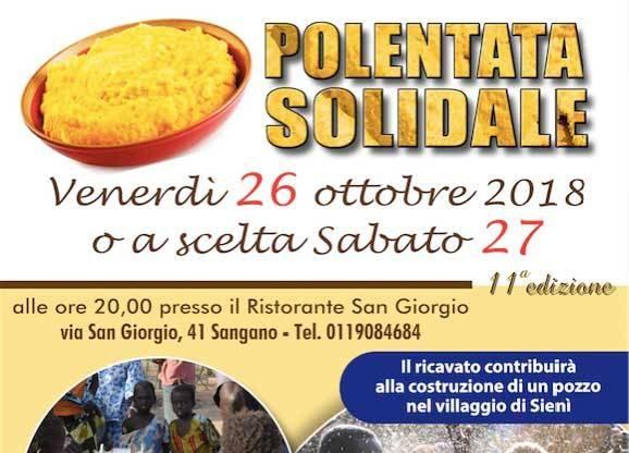 """Sangano, torna la """"Polentata solidale"""" di Lvia per il Burkina Faso"""