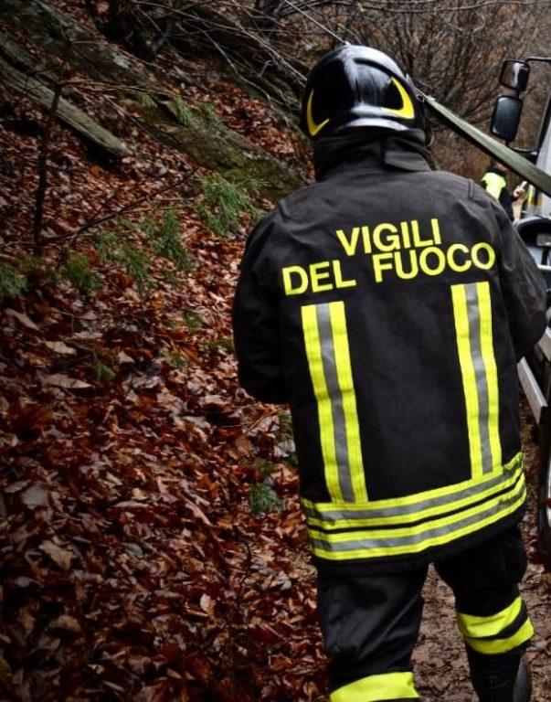 Incendio boschivo ad Avigliana. Intervento dei Vigili del Fuoco in corso