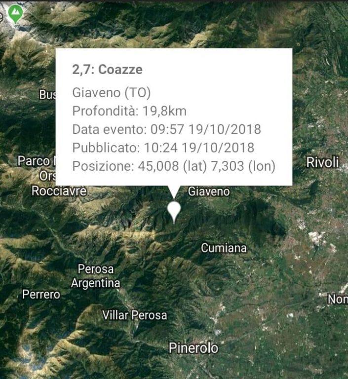 Lieve scossa di terremoto in Val Sangone. Epicentro a Coazze