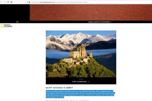 Valsusa, la Sacra di San Michele sul National Geographic
