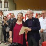 Smeralda Cornagliotti, quarta medaglia d'oro per le 100 donazioni con accanto il presidente Fidas Adsp Giovanni Borsetti