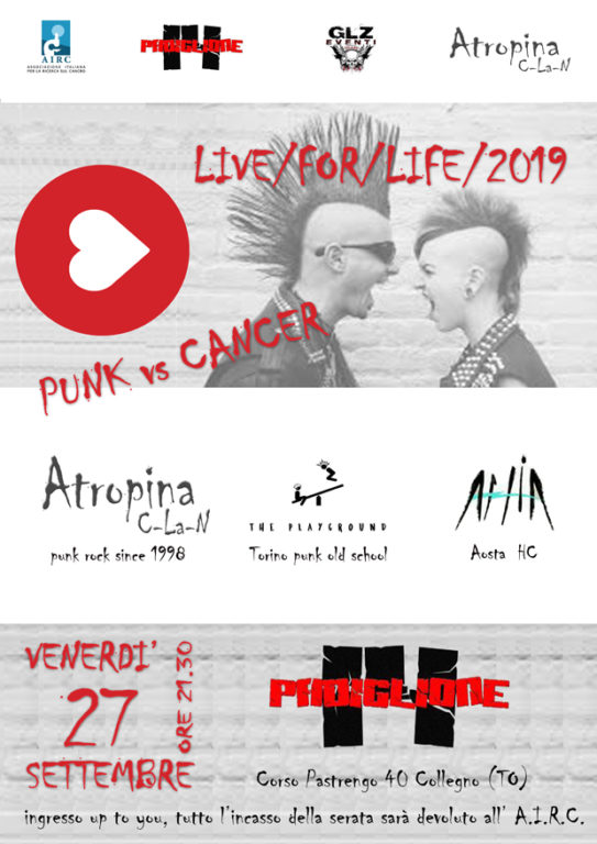 Live for life 2019, punk vs cancer il 27 settembre a Collegno