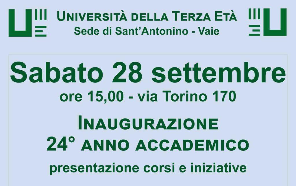 S.Antonino-Vaie, sabato 28 inaugurazione del nuovo anno accademico dell'Unitre