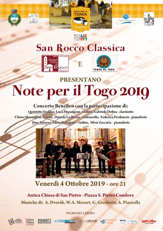 Condove: San Rocco Classica propone un concerto benefico a favore del Togo