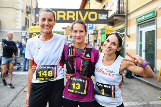 condove - Il podio femminile della quinta edizione del Toma Trail. Da sinistra a destra Nora Gilardi, Elisa Aglì e Giusy Balilla