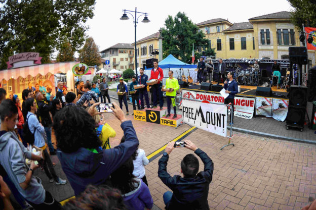 condove - il podio maschile del trail competitivo del Toma Trail con Andrea Pelissero, Andrea Negro e Mattia Cardello