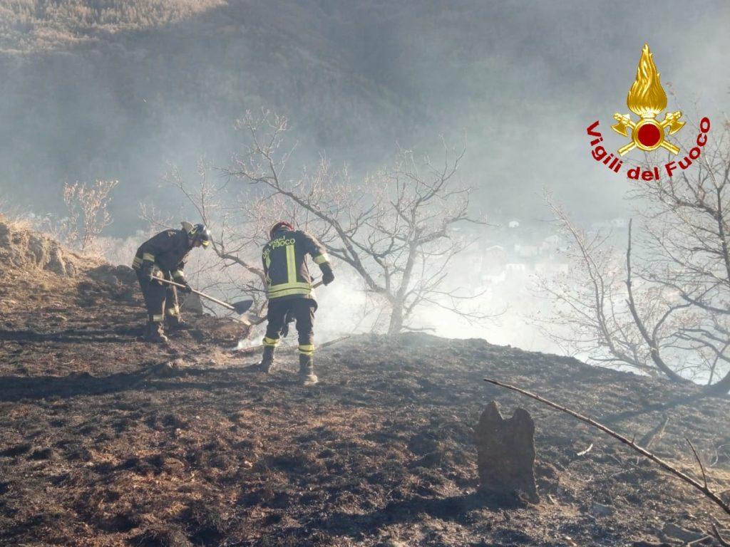 Spento l'incendio boschivo sviluppatosi oggi in Val di Susa