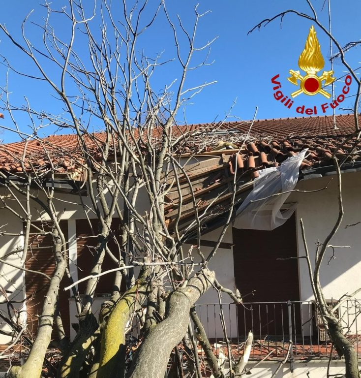 Vento in Val di Susa: albero si schianta su una casa a Villar Dora
