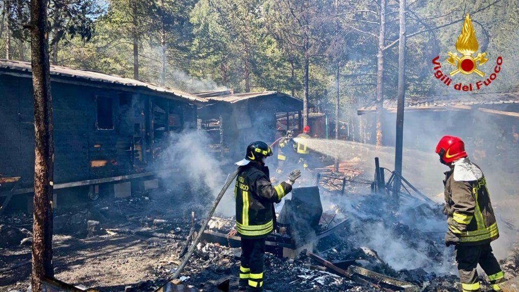 Incendio in un campeggio dell'Alta Val di Susa- Foto