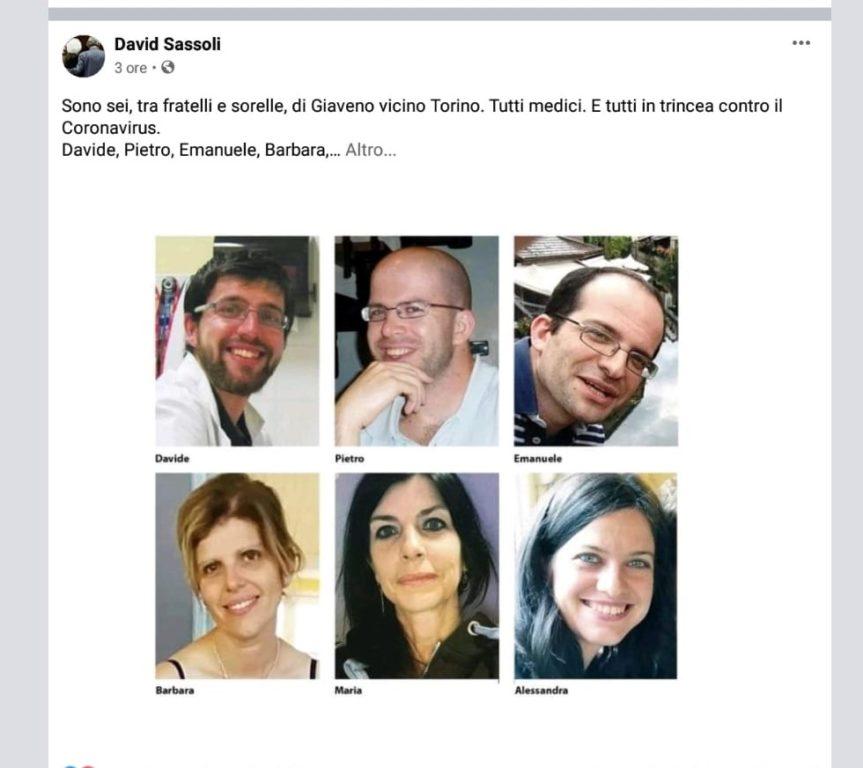 Il ringraziamento del Presidente del Parlamento Europeo ai sei fratelli medici in trincea contro il virus