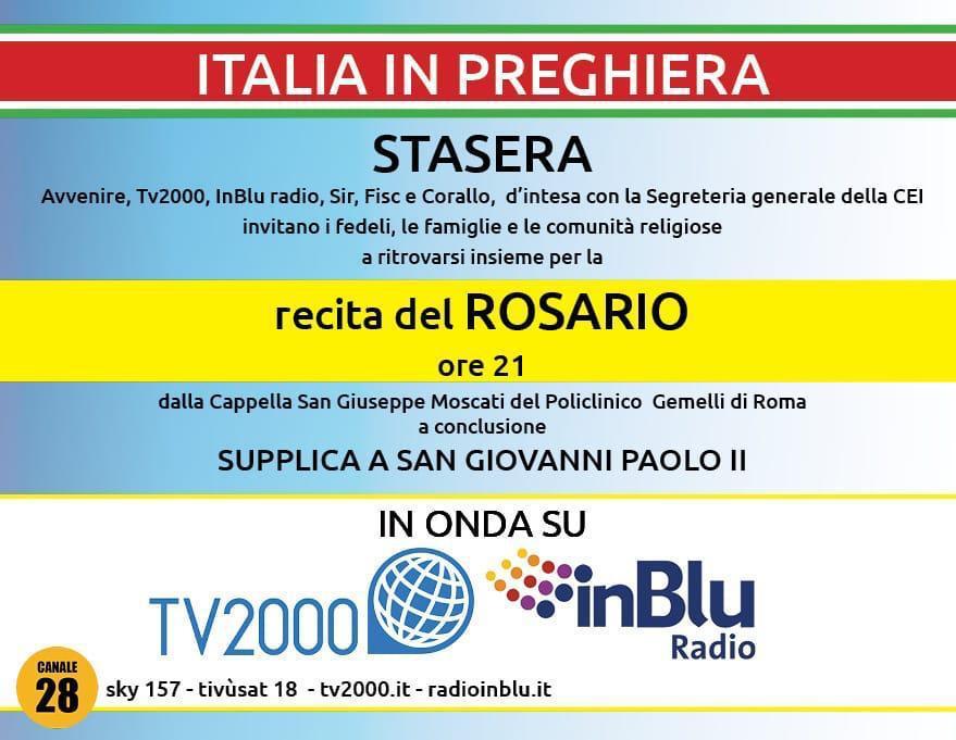 Santo Rosario su Tv2000 e Radio inBlu e supplica a San Giovanni Paolo II