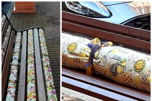 Giaveno, chi ha rubato la stoffa della panchina di via Coazze?