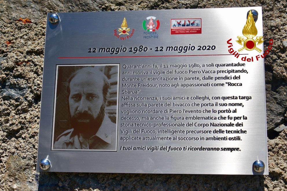 I Vigili del Fuoco italiani e francesi hanno ricordato Piero Vacca a 40 anni dalla morte