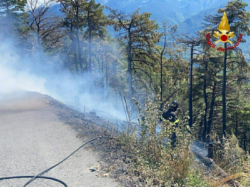Incendio alle pendici del Rocciamelone: le foto dei Vigili del Fuoco