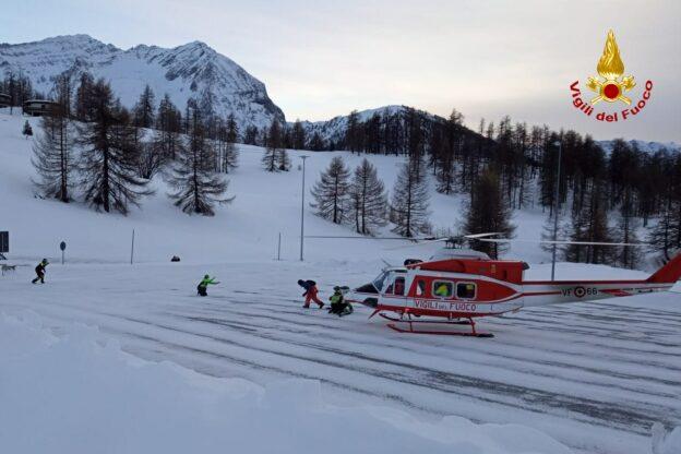 Due scialpinisti in difficoltà sul Monte Fraiteve soccorsi dai Vigili del Fuoco