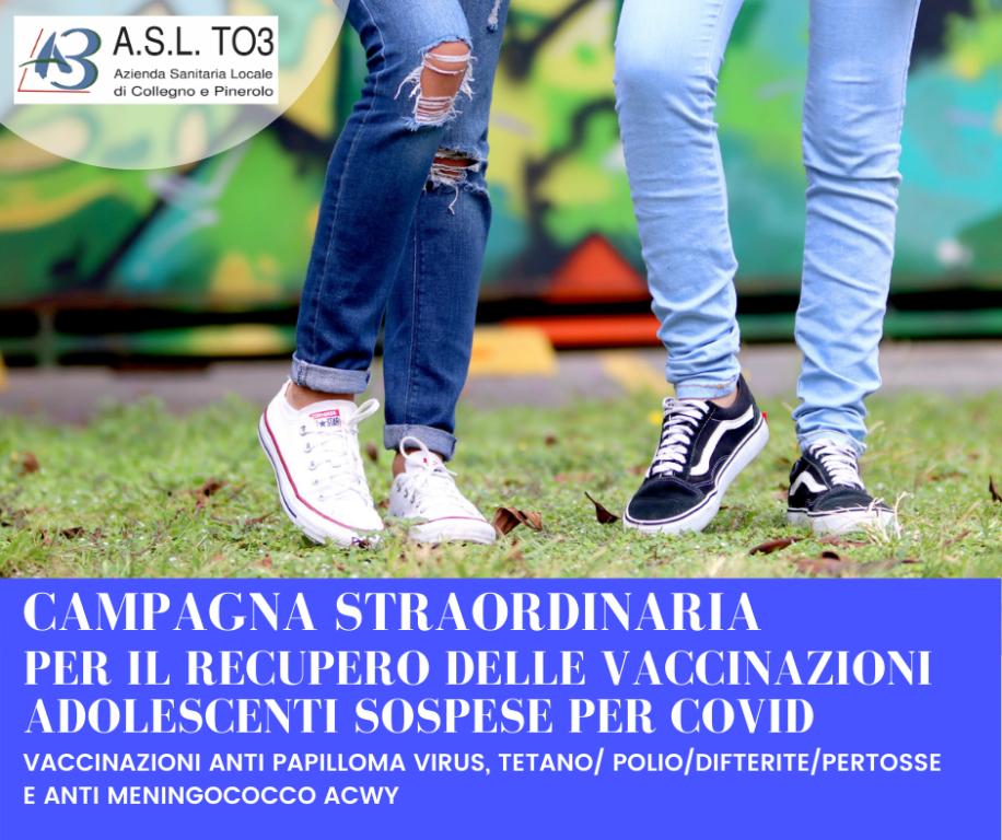 L'Asl To3 recupera le vaccinazioni sospese degli adolescenti