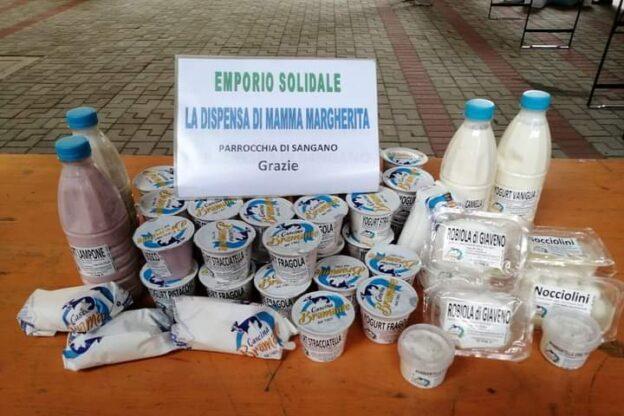 Sangano, l'azienda Bramante dona alcuni prodotti all'Emporio di Mamma Margherita
