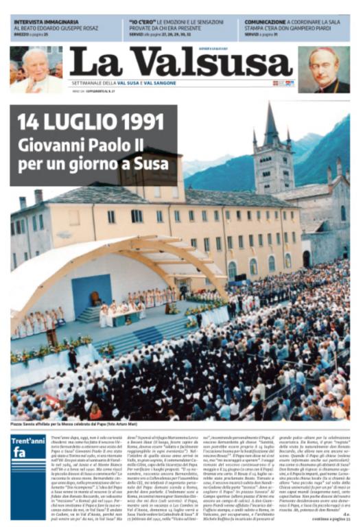Con La Valsusa dell'8 luglio in regalo lo speciale sulla visita di Giovanni Paolo II a Susa